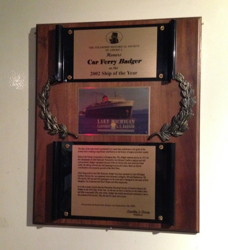 And car ferry of the year in 2002, according to this plaque