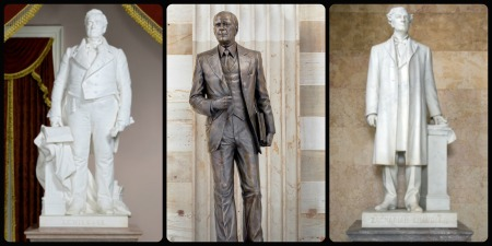 Left to right: Lewis Cass, Gerald Ford, Zachariah Chandler (Photos from the Architect of the Capitol website)