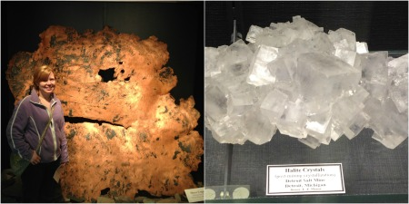 Sheet copper and halite (rock salt) from the Detroit Salt Mines