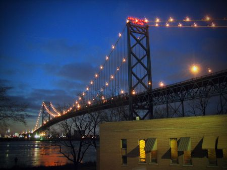 The Ambassador Bridge at night. (source)