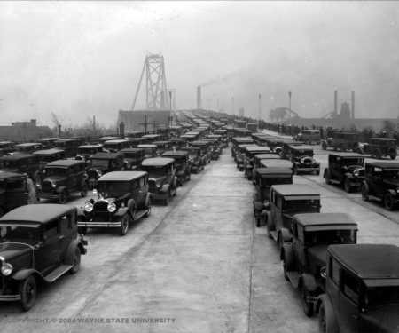 Cars travel over the newly constructed Ambassador Bridge in the 1920s (source: Wayne State University Virtual Motor City Collection)
